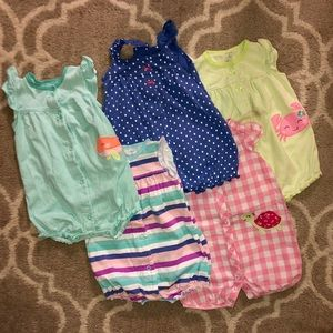 Girls summer clothes bundle of rompers 9 months